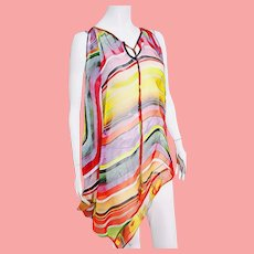 DEADSTOCK  $395 DIANE FREIS vintage 1990s Rainbow Cover Up/Caftan/Tunic Top