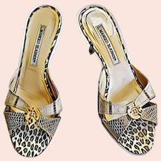 Vintage MANOLO BLAHNIK Animal Print Heels Shoes Slides