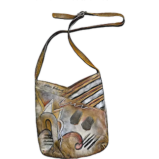 Vintage ALLAN EDWARD Wearable Art hand painted Signed Purse Bag