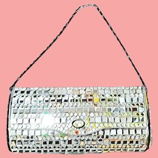 SIMPLY EXQUISITE Vintage 1960s Mirror Ball Glass clutch purse/hand bag - 1  1/4 Lbs!