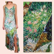 "DEADSTOCK  $650 DIANE FREIS Vintage ""Van Gogh's Dream"" boho gypsy Dress"