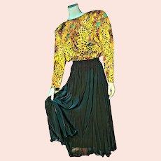 DEADSTOCK  $3400 vintage DIANE FREIS 1980s Silk boho metallic Dress