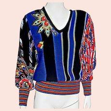 Vintage 1980s DIANE FREIS for MARISA Christina Knit & Silk Sweater Top