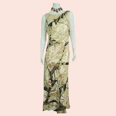 DEADSTOCK  $970 vintage 1990s DIANE FREIS Metallic Column Maxi Dress/Gown