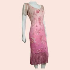 """DEADSTOCK  $5750 DIANE FREIS Couture:  Vintage 1980s Silk Hand-Beaded """"Flapper"""" Dress"""