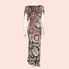DEADSTOCK  $1160 vintage DIANE FREIS hand beaded Velvet Burnout Dress