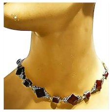 Vintage antique ART DECO Marcasite & Carnelian 830 Germany choker Necklace