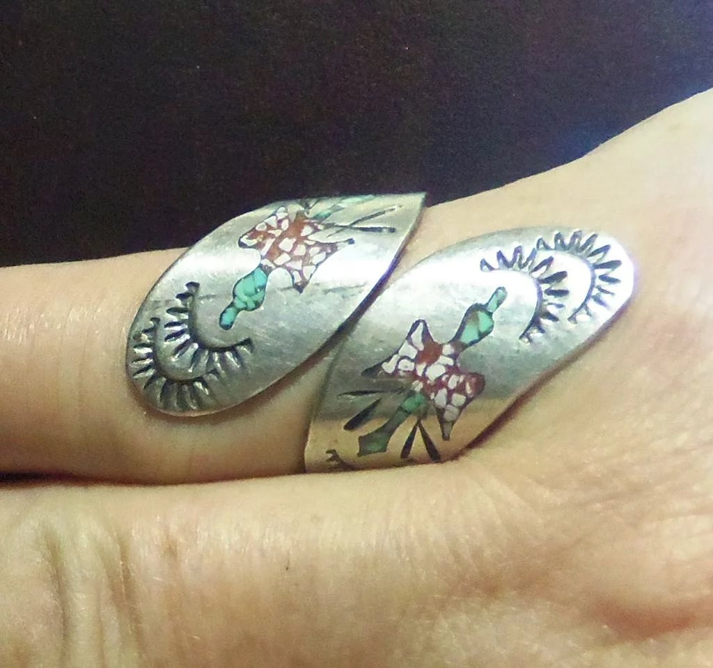 Vintage Navajo William Singer Sterling Silver Inlay Ring - Red Tag ...
