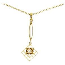 Antique Victorian 14k Gold Cushion Mine Cut Diamond Lavaliere Pendant 10k Chain