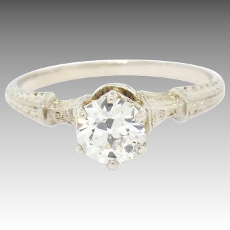 Vintage Art Deco 14K Gold 0.77ct GIA Certified Diamond Solitaire Engagement Ring