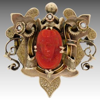 Antique Victorian 10k Gold Carved OX BLOOD Coral Cameo Seed Pearl Brooch or Pendant