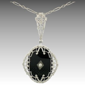 Art Deco 14k Gold Diamond Black Onyx Filigree Milgrain Pendant 16.5""