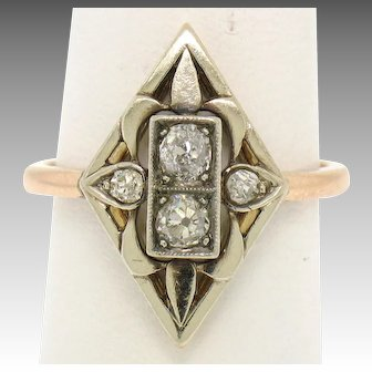 Victorian Marquise Shaped 14k Gold 0.40ctw Old Mine Cut Diamond Ring