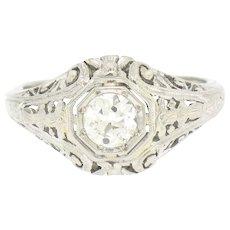 Vintage Art Deco Belais 18k White Gold Filigree 0.41ct European Cut Diamond Ring