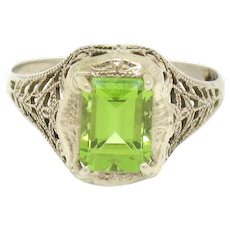 Vintage Art Deco 10k White Gold Emerald Cut Peridot Open Filigree Ring