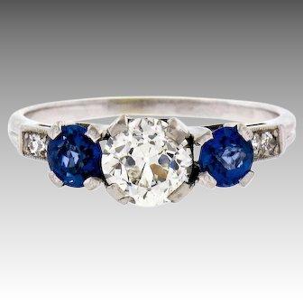 Vintage Art Deco 14k White Gold 2.02ctw European Cut Diamond and Sapphire 3 Stone Engagement Ring