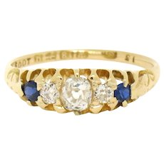 Antique Victorian 18k Gold Old Mine Diamond & Sapphire Etched Band Ring