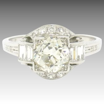 Vintage Art Deco 900 Platinum Granat Bros. 1.76ctw European & Baguette Diamond Engagement Ring