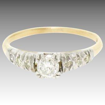 Antique 14K Two Tone Gold 0.40ctw European Cut Diamond Solitaire Engagement Ring