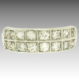 Vintage Art Deco 900 Platinum Old Cut Diamond Etched Dual Row Band Ring
