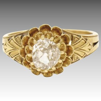 Antique Victorian 18k Gold 0.75ct Old Mine Cut Diamond Solitaire Engagement Ring