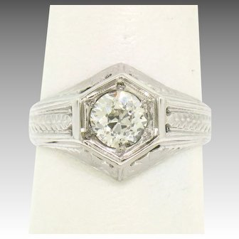 Art Deco Etched 18k White Gold European Diamond Solitaire Ring