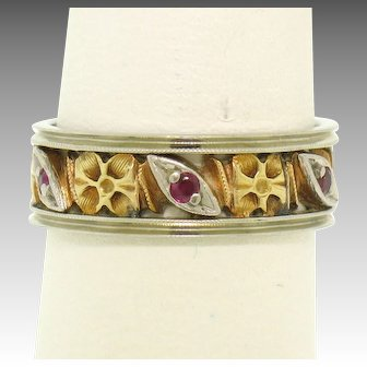 Vintage 14k Gold Flower & Marquise Shape Ruby Pierced Eternity Band