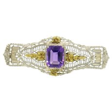 Vintage Art Deco 14k White & Green Gold Filigree Brooch w/ 3.0ct Emerald Cut Amethyst
