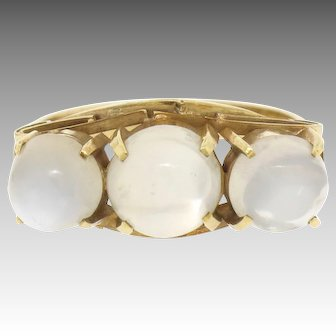 Antique Victorian 18k Rose Gold 4.50ctw Three Stone Cabochon Moonstone Open Work Band Ring