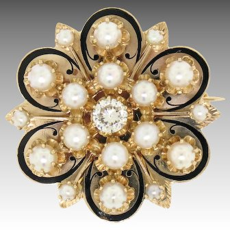 Antique Victorian Large 14k Yellow Gold Transitional Cut Diamond & Cultured Pearl Flower Brooch Pin or Pendant