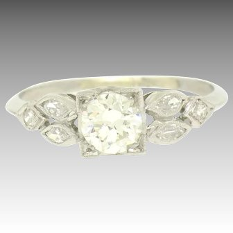 Vintage Art Deco 900 Platinum 0.90ctw European & Marquise Cut Diamond Solitaire Ring
