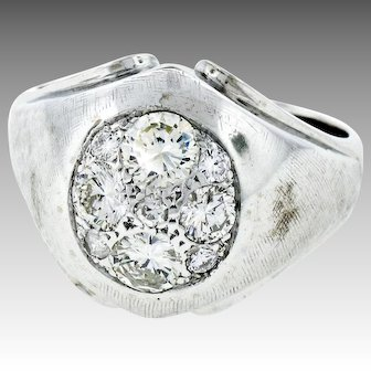 Vintage Men's 14k White Gold Round Diamond Cluster Domed Florentine Finish Ring