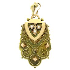 Rare Etruscan Victorian 14k Gold Seed Pearl Large Locket Pendant