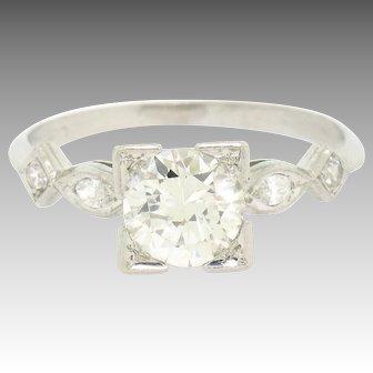 Vintage Art Deco 900 Platinum 1.30ctw Old European Cut Diamond Solitaire Engagement Ring w/ Round & Marquise Cut Accents