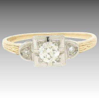 Vintage Art Deco 14K Two Tone Gold 0.25ctw Old Cut European Diamond 3 Stone Ring