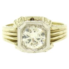 Vintage Art Deco Etched Unisex 14k Two Tone Gold 0.86ct Old European Diamond Solitaire Ring