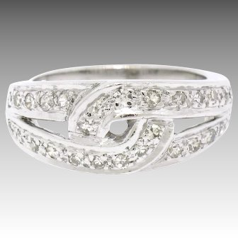 Vintage Platinum Round Single Cut Pave Diamond Band Ring