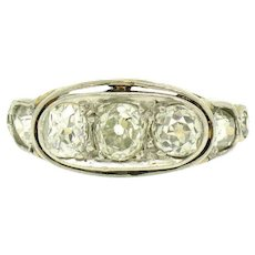 Antique Edwardian 14k Yellow Gold and 900 Platinum Top 1.60ctw G VS Old Mine Cut Diamond Band Ring
