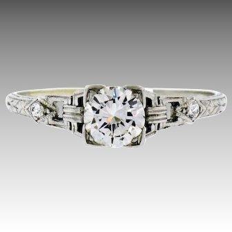 Vintage Art Deco 900 Platinum 0.70ctw Round Transitional Cut Diamond Buckle Solitaire Engagement Ring