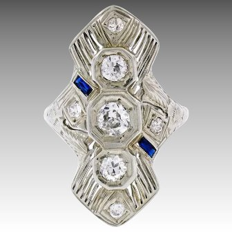 Vintage Art Deco 14K White Gold 0.72ctw Diamond and Sapphire Long Filigree Dinner Ring