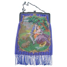 Figural / Floral Beaded Purse, courting couple, beautiful detail and colors