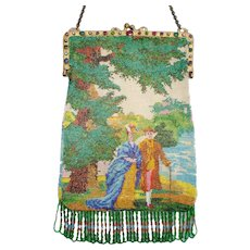 Figural / Scenic Beaded Purse, jeweled frame, large purse with tiny beads. exceptional purse