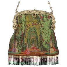 Figural / Scenic Beaded Purse, couple dancing in a garden, ornate frame