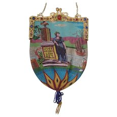 """Figural / Scenic Beaded Purse, jeweled frame, very old, fantatstic detail, with writing """"Hoffnung lohnet"""""""