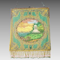 Scenic  Beaded Purse, gazebo, tiny beads, beautiful colors, great detail