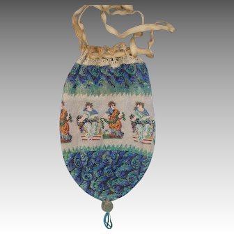Figural Beaded Pouch with Roman or Greek figures, original drawstring and lining, Very old and unique
