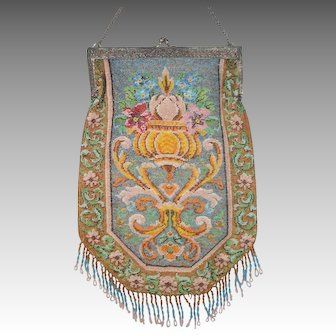 Flower scene Beaded Purse, very large purse, tiny beads, unusual