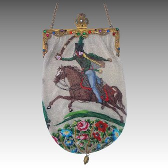 """Figural / Scenic Beaded Purse, 2 different scenes """"Russian Hussar"""" and """"Hunting Scene"""", jeweled frame"""