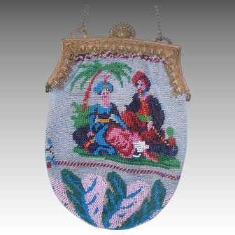 Figural / Scenic Beaded Purse, 2 different sides, Exotic Couple and Gondola with writing