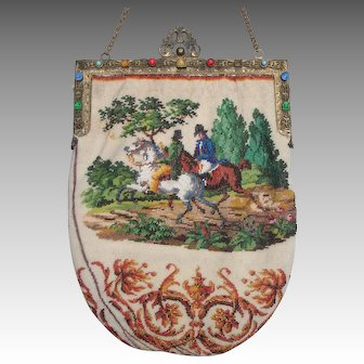Figural / Scenic Beaded Purse with two different sides, hunting scene , deer, jeweled frame, tiny beads
